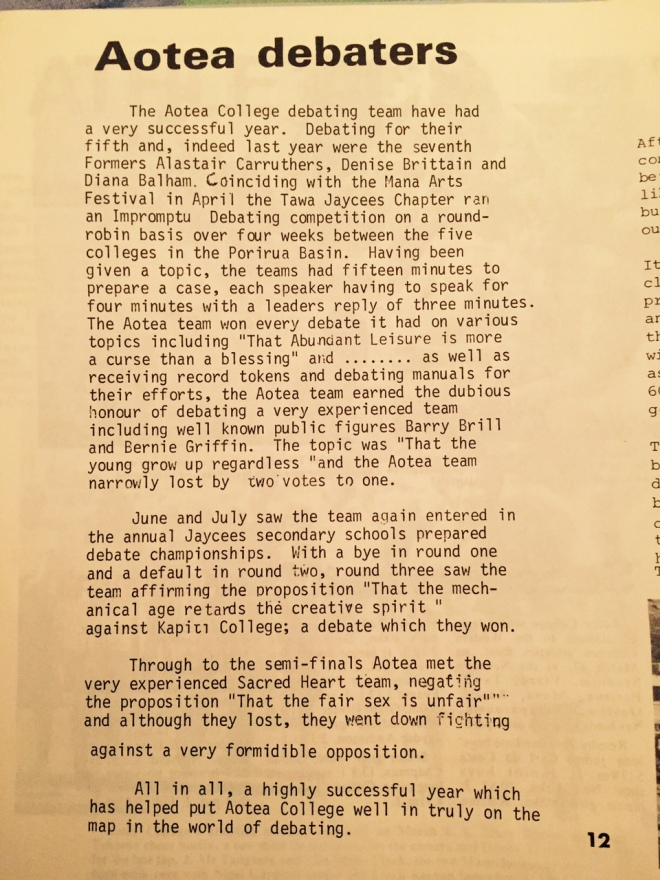 The 1982 write-up in the school magazine we edited, about our debating successes.